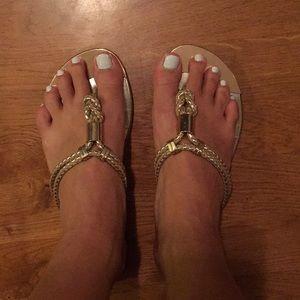 Gold sandals size 6